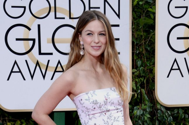'Supergirl' star Melissa Benoist attending the 73rd annual Golden Globe Awards on January 10. The superhero series is set to crossover with 'The Flash' in March. Photo by Jim Ruymen/UPI