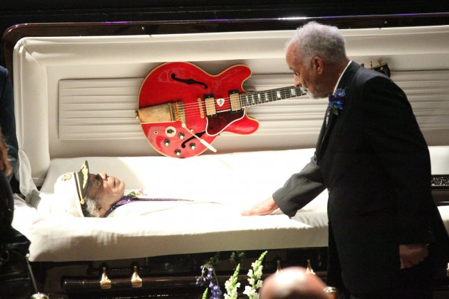 Family members of the late Chuck Berry file past his casket during a memorial service at the Pageant Theater in St. Louis on April 9, 2017. Berry died on March 18, 2017 at the age of 90. Photo by BIll Greenblatt/UPI