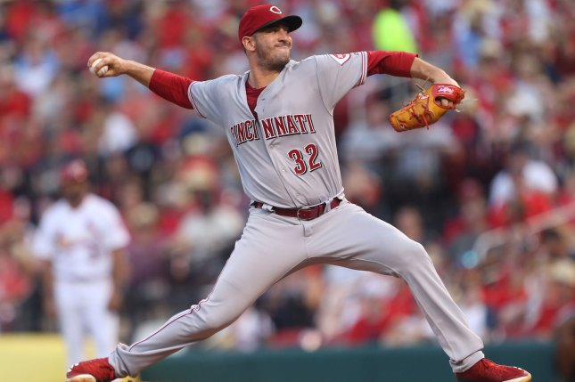 Cincinnati Reds starting pitcher Matt Harvey delivers a pitch to the St. Louis Cardinals in the second inning on July 13 at Busch Stadium in St. Louis. Photo by Bill Greenblatt/UPI