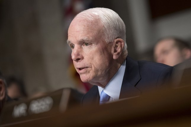 The dog of late Sen. John McCain, R-Ariz., died at the family's Arizona ranch recently. File Photo by Kevin Dietsch/UPI