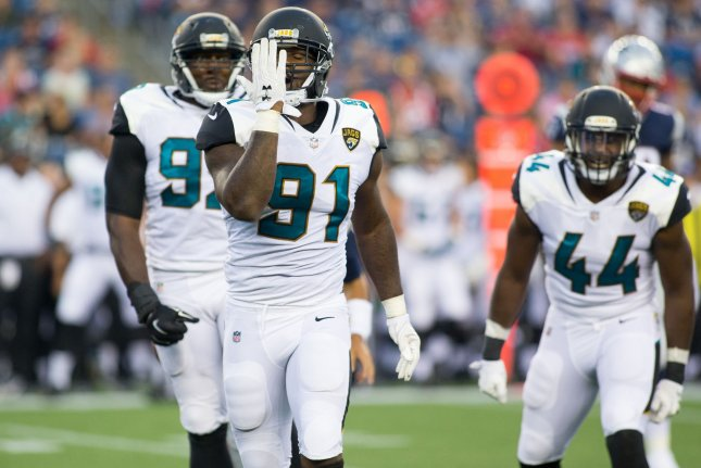 Former Jacksonville Jaguars defensive end Yannick Ngakoue (91) was traded to the Minnesota Vikings at the end of August. File Photo by Matthew Healey/UPI