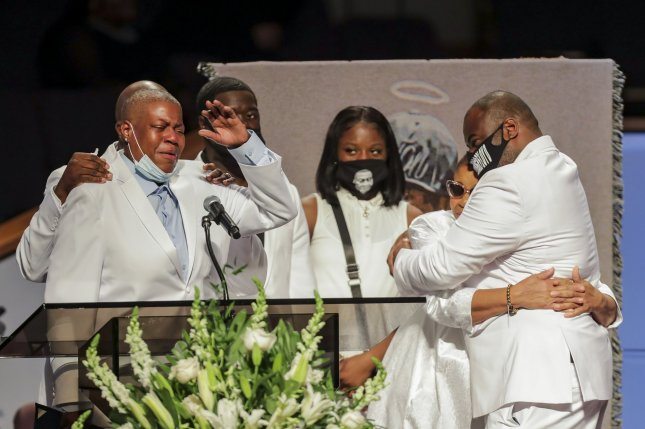 LaTonya Floyd speaks during the funeral for her brother George Floyd during his funeral at The Fountain of Praise Church on June 9 in Houston. The city of Minneapolis settled the family's wrongful death lawsuit for $27 million Friday. File Photo by Godofredo A. Vasquez/UPI
