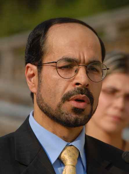 Nihad Awad, national executive director of the Council on American-Islamic Relations (CAIR), speaks at a press conference, calling on Congress to pass Rep. Sheila Jackson Lee's (D-TX) resolution to denounce human rights violations against women around the world, on Capitol Hill in Washington on October 9, 2007. (UPI Photo/Alexis C. Glenn)