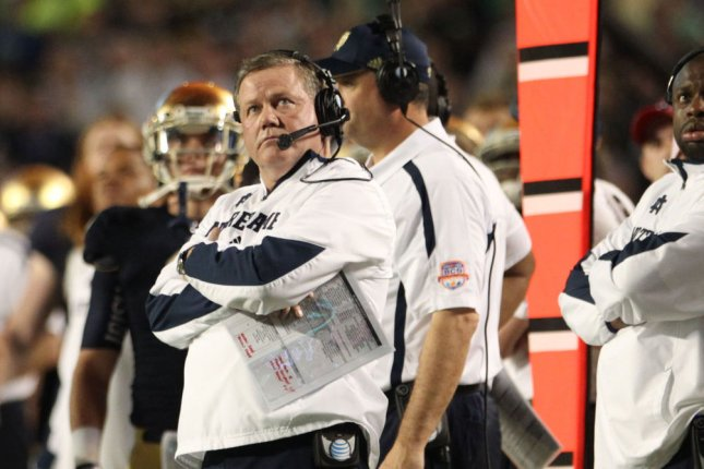 Notre Dame Head Coach Brian Kelly. File photo Marc Serota/UPI