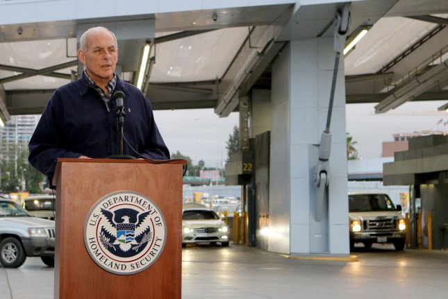 Secretary of Homeland Security John Kelly speaks with reporters during a news conference after meeting with federal, state and local law enforcement officials at the Port of Entry in San Ysidro, Calif., on February 10. Wednesday, he told a Senate committee it's unlikely that a wall will be built along the entire 2,000-mile U.S.-Mexico border. File Photo by Howard Shen/UPI