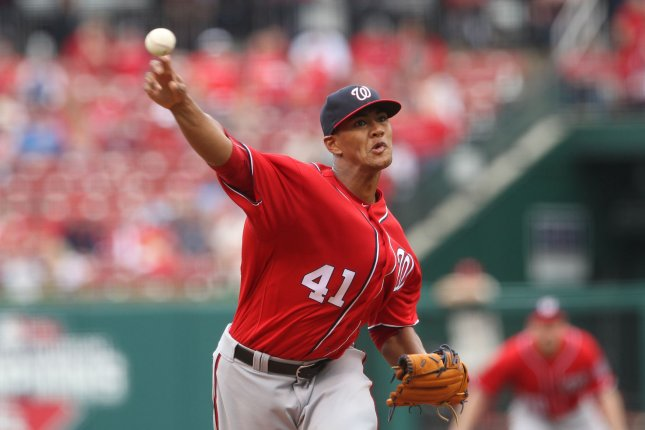 The Nationals' Joe Ross struck out 12 in Washington's 6-1 victory over the Baltimore Orioles. File photo by Bill Greenblatt/UPI
