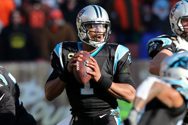 Carolina Panthers quarterback Cam Newton looks to pass during a game against the Cleveland Browns on December 9, 2018. Photo by Aaron Josefczyk/UPI