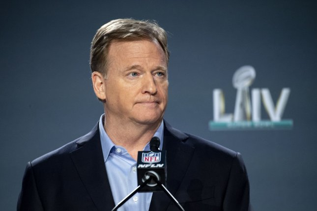 NFL commissioner Roger Goodell announced March 16 that the league was delaying off-season programs indefinitely amid the coronavirus pandemic. File Photo by Kevin Dietsch/UPI