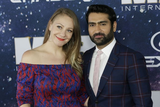 Kumail Nanjiani (R) and his wife Emily V. Gordon arrive at the premiere of Men In Black International on June 11. Nanjiani's film with Issa Rae, The Lovebirds, is coming to Netflix in May. File Photo by John Angelillo/UPI