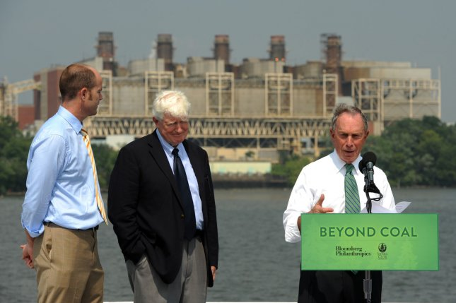 Michael Brune, executive director of the Sierra Club; Rep. Jim Moran, D-VA; and New York City Mayor Michael Bloomberg (L to R) announce a partnership between Bloomberg Philanthropies and the Sierra Club to push for shutting down coal-fired power plants and replace them with more environmentally friendly options. UPI/Roger L. Wollenberg