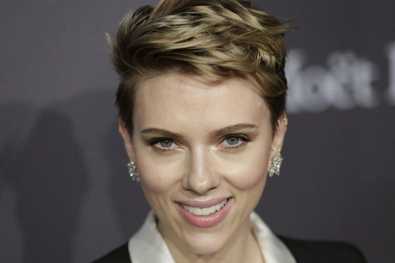 Scarlett Johansson at the amfAR New York gala on Wednesday. Photo by John Angelillo/UPI