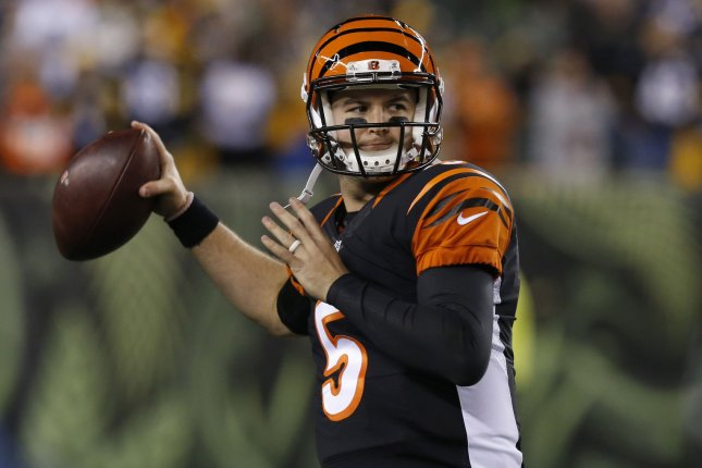 The Cincinnati Bengals realize they are in an enviable position at quarterback with Andy Dalton coming off another strong season and a more than capable backup in AJ McCarron who helped lead them to the playoffs when Dalton was injured late in the 2015 season. File Photo by John Sommers II/UPI