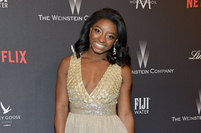 Simone Biles attends The Weinstein Co. and Netflix Golden Globes after-party on January 8. File Photo by Christine Chew/UPI