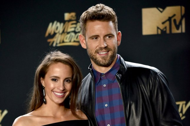 Nick Viall (R) and Vanessa Grimaldi attends the MTV Movie & TV Awards on May 7. File Photo by Christine Chew/UPI