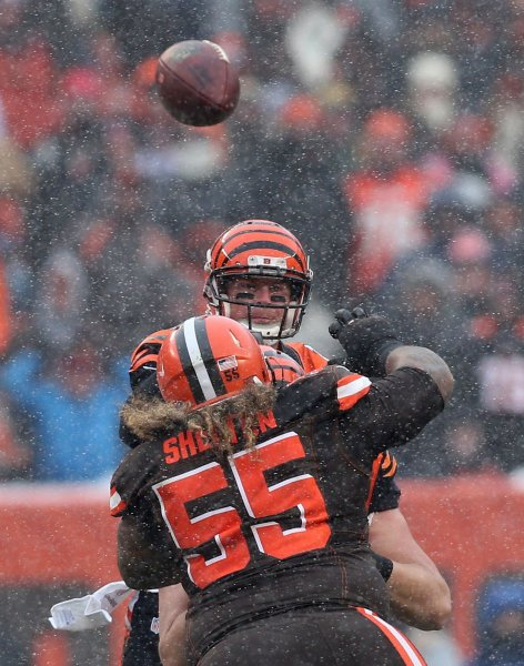 Former Cleveland Browns defensive lineman tries to get to Cincinnati Bengals quarterback Andy Dalton during a game in 2016. Photo by Aaron Josefczyk/UPI