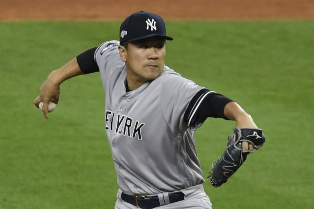 New York Yankees starting pitcher Masahiro Tanaka throws against the Houston Astros in the first inning of Game 1 of the American League Championship Series on Saturday at Minute Maid Park in Houston. Photo by Trask Smith/UPI