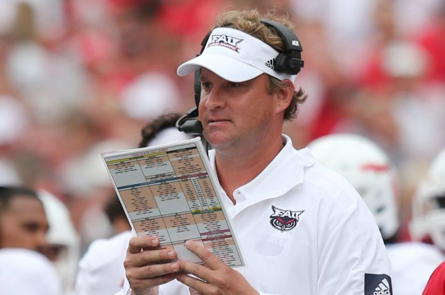 Florida Atlantic University football coach Lane Kiffin took issue with several penalty calls during the Owls' loss to Marshall Friday in Boca Raton, Fla. File Photo by Aaron Josefczyk/UPI