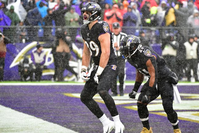 Baltimore Ravens tight end Mark Andrews (89) has 58 catches for 759 yards and eight touchdowns in 14 games this season. Photo by David Tulis/UPI