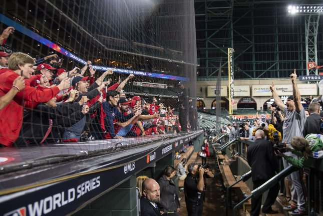 The Houston Astros extended and replaced their protective netting on the first and third base lines in August in an effort to shield fans from foul balls at Minute Maid Park in Houston. Photo by Kevin Dietsch/UPI