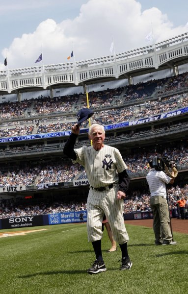 Former Yankees pitcher Whitey Ford is introduced on Old Timers Day before a game at Yankee Stadium in New York City on July 17, 2010. File Photo by John Angelillo/UPI