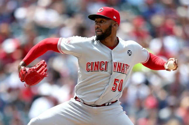 Cincinnati Reds pitcher Amir Garrett is allowed to play until MLB rules on his appeal of a seven-game suspension. File Photo by Aaron Josefczyk/UPI
