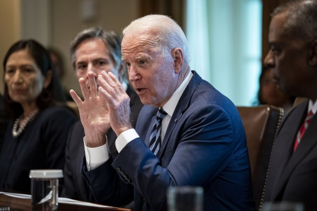 President Joe Biden speaks during a Cabinet meeting at the White House in Washington, D.C., on Tuesday. Photo by Al Drago/UPI
