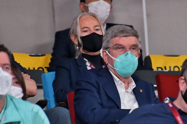 Olympics chief Thomas Bach took a tour of the Ginza shopping and entertainment district in Tokyo, local reports said after Bach presided over the closing ceremony of the Tokyo Olympics Sunday. Photo by Keizo Mori/UPI