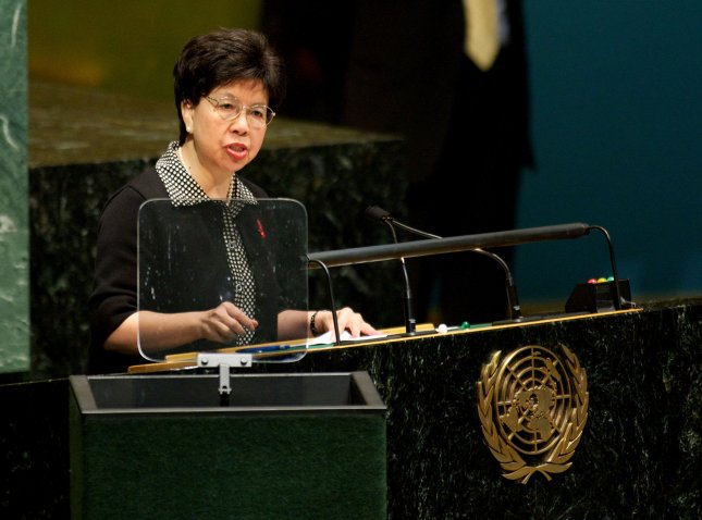 WHO: Majority of SARS-like virus cares are severe. Dr Margaret Chan, director-general of the World Health Organization, addresses assembly. UPI/Monika Graff