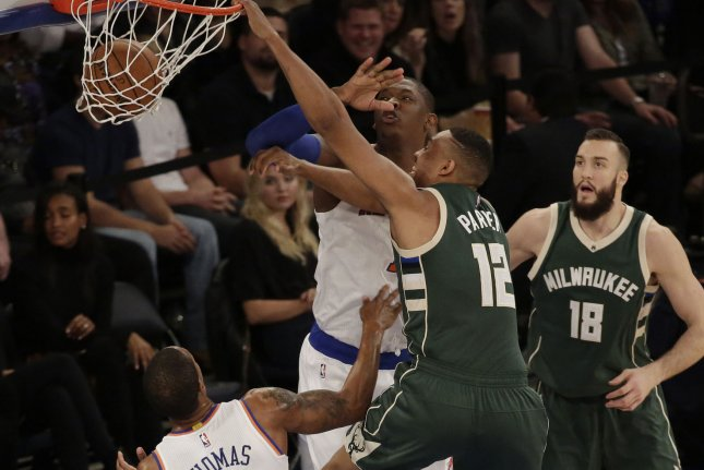 Milwaukee Bucks Jabari Parker dunks the basketball in the first half against the New York Knicks at Madison Square Garden in New York City on November 6, 2015. Photo by John Angelillo/UPI