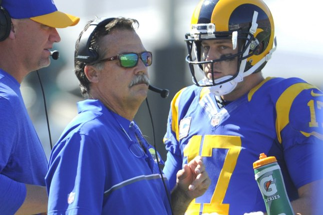 Los Angeles Rams coach Jeff Fisher and quarterback Case Keenum talk during a timeout against the Seattle Seahawks in the second half at the Los Angeles Coliseum on September 18, 2016. The Rams won 9 to 3. Photo by Lori Shepler/UPI