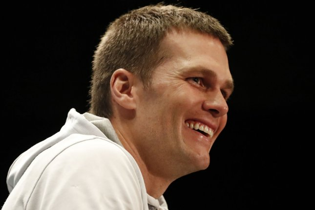 New England Patriots quarterback Tom Brady speaks at a press conference at the JW Marriott in Houston, Texas on February 2. Brady played against Atlanta Falcons defensive end Dwight Freeney in video game For Honor as part of Conan's Clueless Gamer segment. Photo by John Angelillo/UPI