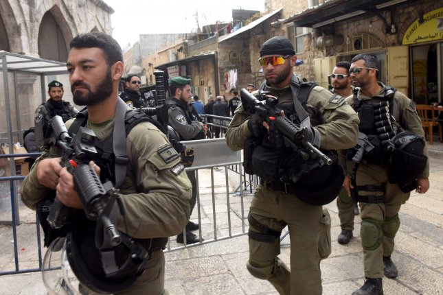 Israeli security forces patrol the Old City of Jerusalem on December 15 -- on high alert for protests by Palestinians opposed to U.S. President Donald Trump's recognition of Jerusalem as the capital of Israel. Photo by Debbie Hill/UPI
