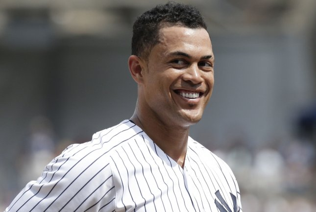 Giancarlo Stanton and the New York Yankees face the Texas Rangers on Thursday. Photo by John Angelillo/UPI
