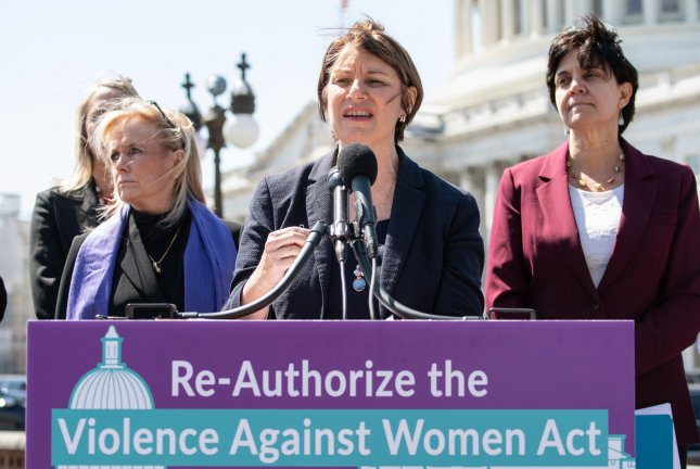 Sen. Amy Klobuchar, D-Minn., speaks at a news conference Wednesday on the reauthorization of the Violence Against Women Act at the U.S. Capitol. Photo by Kevin Dietsch/UPI