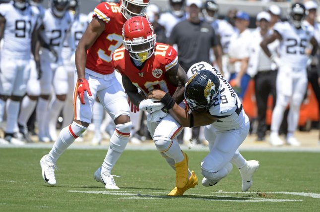 Kansas City Chiefs wide receiver Tyreek Hill (10) injured his collarbone and sternum during the Chiefs' Week 1 matchup against the Jacksonville Jaguars. File Photo by Joe Marino/UPI