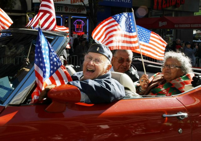 Korean War veterans ride in a car up Fifth Avenue during the 91st annual Veterans Day Parade held on November 11, 2010 in New York City. UPI Photo/Monika Graff
