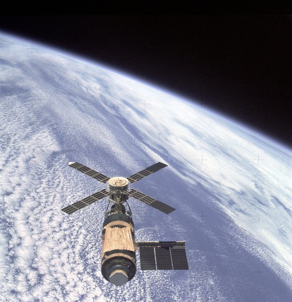 Skylab, the first U.S. space station, is shown in a NASA photo Feb. 8, 1974. It was in orbit six years before plunging to Earth July 11, 1979. NASA/UPI File