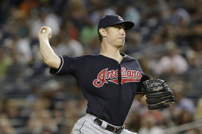 Cleveland Indians starting pitcher Josh Tomlin throws a pitch in the 3rd inning against the New York Yankees at Yankee Stadium in New York City on August 20, 2015. Photo by John Angelillo/UPI