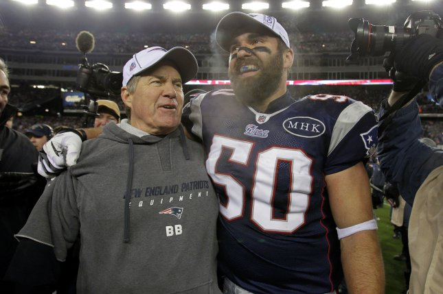 New England Patriots head coach Bill Bellichick and Rob Ninkovich react after the Patriots defeated the Ravens 23-20 in the AFC Championship Game at Gillette Stadium in Foxboro Massachusetts on January 22, 2012. File photo by John Angelillo/UPI