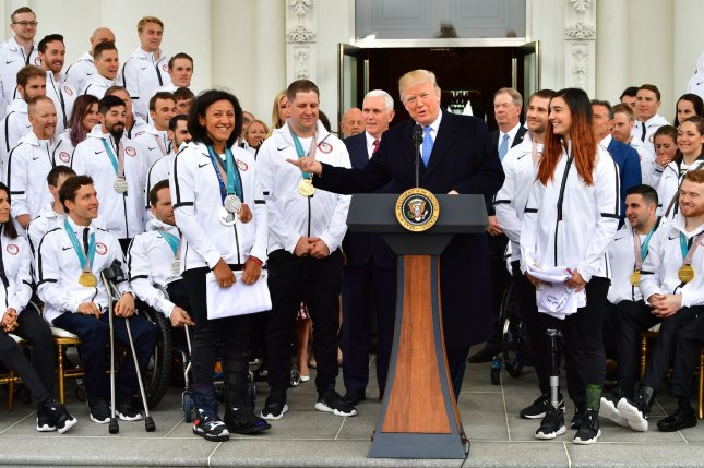President Donald Trump meets members of the United State Olympic and Paralympic Teams at the White House on April 27. Photo by Kevin Dietsch/UPI