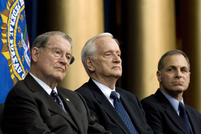 Former FBI Director William S. Sessions (C), shown here with fellow former directors William H. Webster (L), and Louis Freeh at a 2008 event, died Friday at the age of 90. File Photo by Patrick D. McDermott/UPI