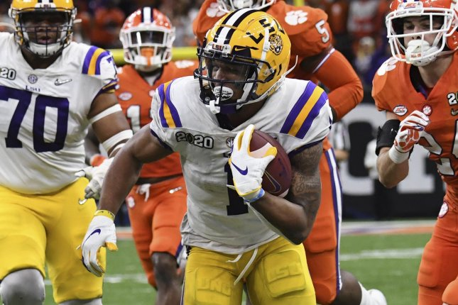 Former LSU wide receiver Ja'Marr Chase is expected to be one of the first wide receivers selected in the 2021 NFL Draft. File Photo by Pat Benic/UPI