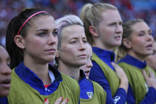 Led by star forward Alex Morgan (L), members of the U.S. women's national team sued the U.S. Soccer Federation in March 2019 for equal pay. File Photo by David Silpa/UPI