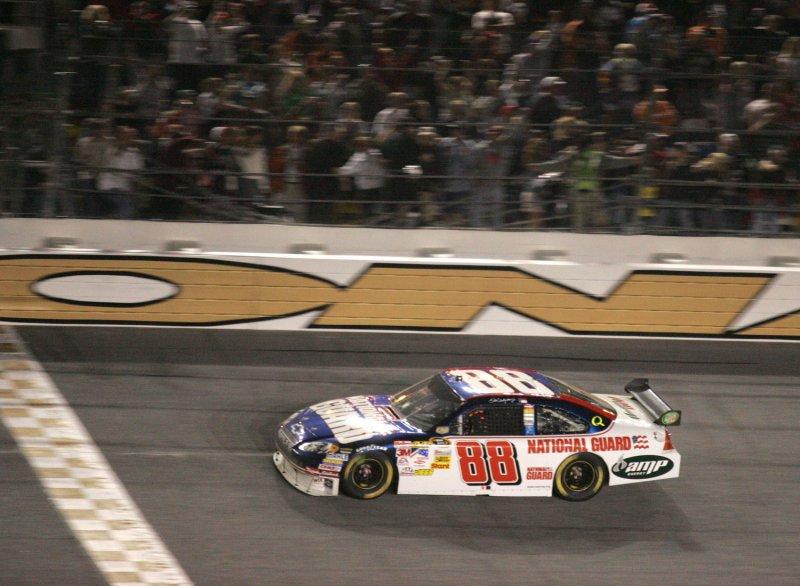 Dale Earnhardt Jr. crosses the finish line winning the NASCAR Budweiser Shootout at Daytona International Speedway in Daytona Beach, Florida on February 9, 2008. (UPI Photo/Martin Fried)