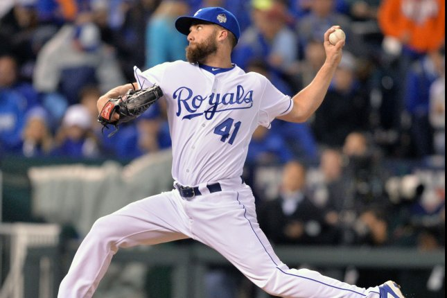 Kansas City Royals reliever Danny Duffy could miss two months with an oblique injury. File photo by Kevin Dietsch/UPI