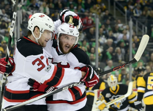 Stefan Noesen (23), Pavel Zacha and the New Jersey Devils are seeking some help via the NHL draft. UPI/Archie Carpenter