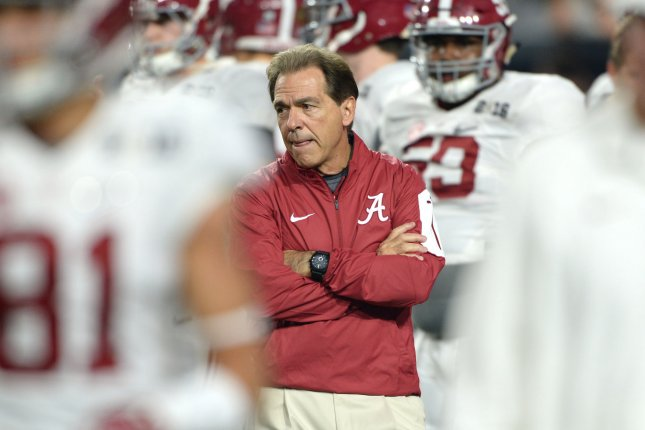 Alabama Crimson Tide head coach Nick Saban watches his team prior to a game against the Clemson Tigers in the first quarter of the 2016 College Football Playoff National Championship at University of Phoenix Stadium in Glendale, Arizona on January 11, 2016. File photo by Jon SooHoo/UPI