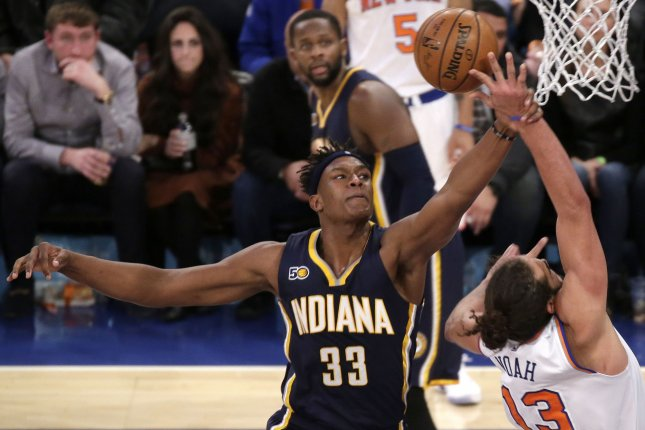 Indiana Pacers big man Myles Turner scored nine points in a win against the Charlotte Hornets on Sunday in Indianapolis. File photo by John Angelillo/UPI