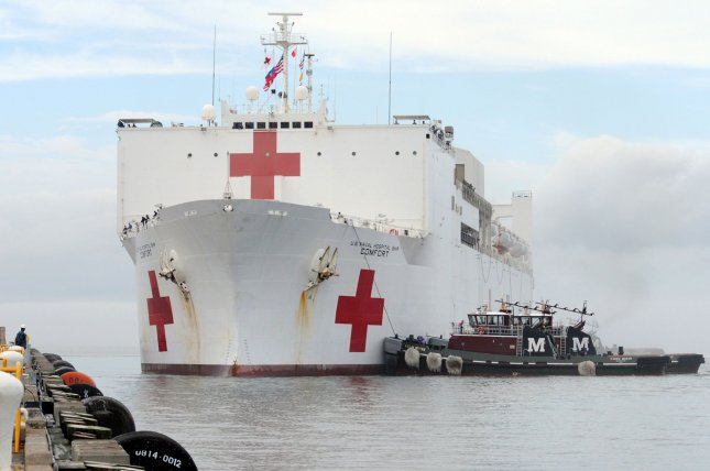 The hospital ship USNS Comfort will deploy to South America and the Caribbean area on June 14, the U.S. Southern Command announced on Monday, to serve refugees from Venezuela. File Photo by Ryan Steinhour/U.S. Navy/UPI y