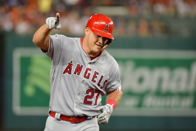 Los Angeles Angels star outfielder Mike Trout, an 8-time All-Star selection, has been a full participant in the Angels' preseason workouts and exhibition games this summer. File Photo by Kevin Dietsch/UPI